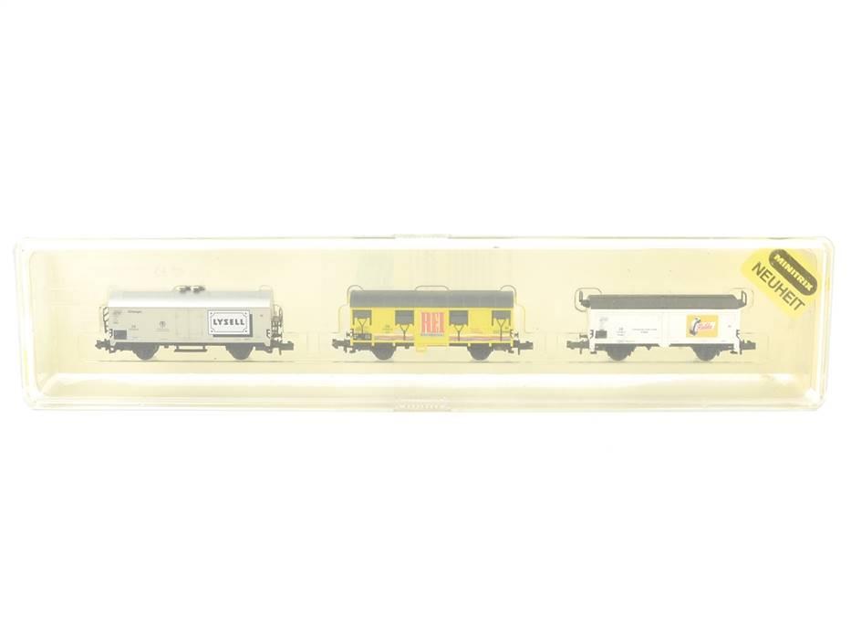 E289 Minitrix N 11038 Wagenset 3-tlg. private Güterwagen Rei Lysell Fulda DB