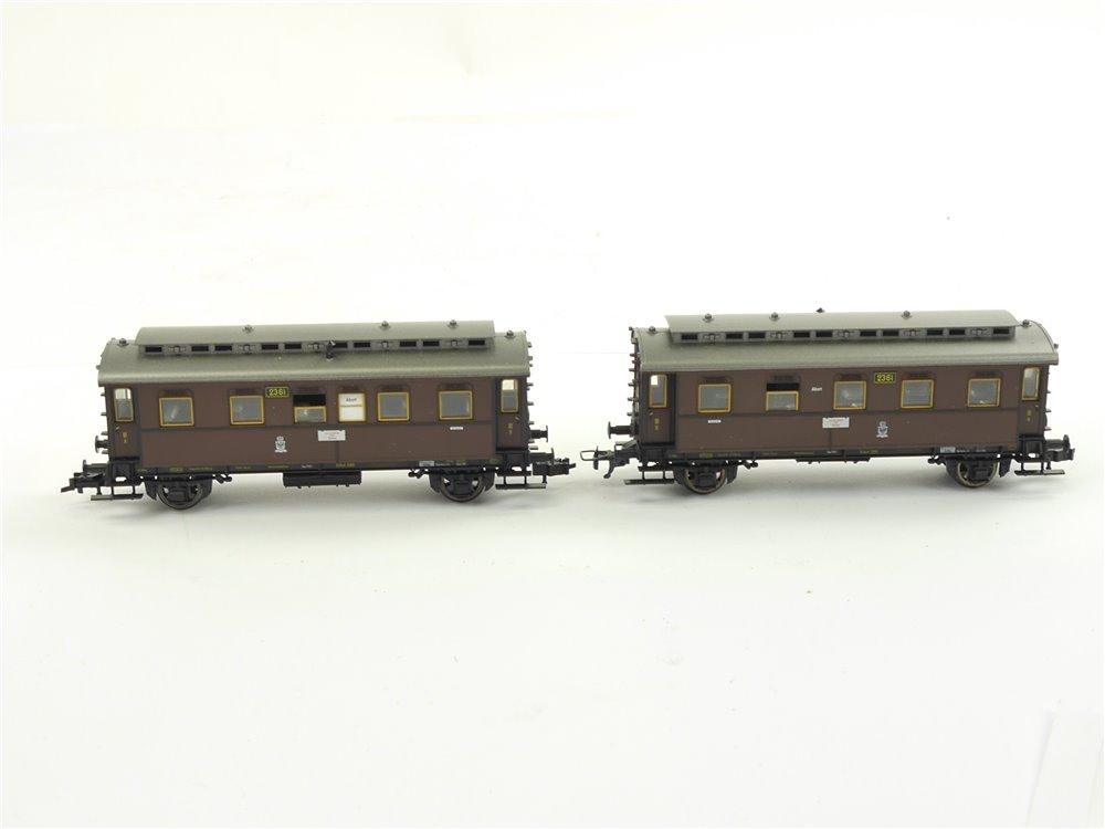 E256 Fleischmann H0 5812 2x Personenwagen 3. Klasse 2361 K.P.E.V.