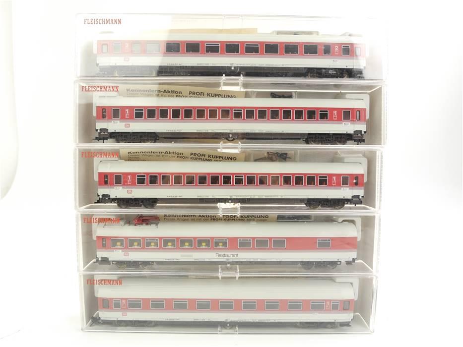 E322 Fleischmann H0 5181 - 5185 K 5x Personenwagen IC DB / 1x Licht NEM *TOP*