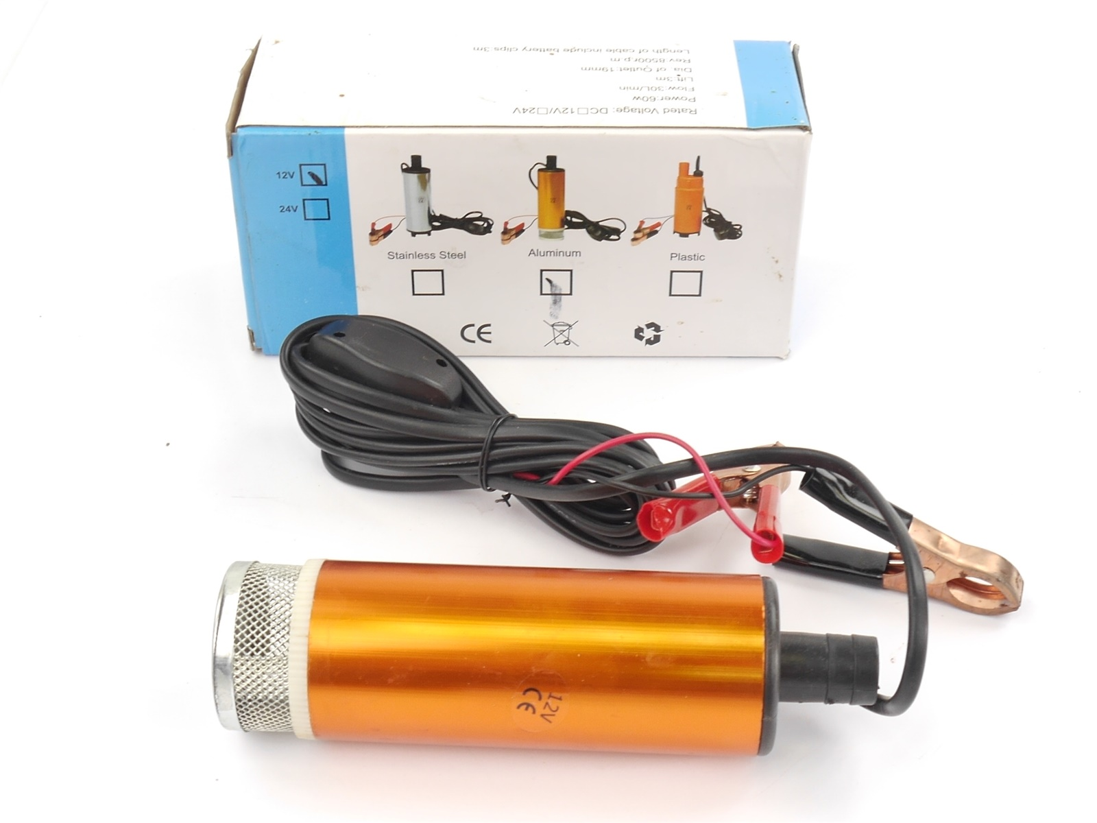 E103 Tauchbare Pumpe Dieselpumpe aus Aluminium / 12 V DC