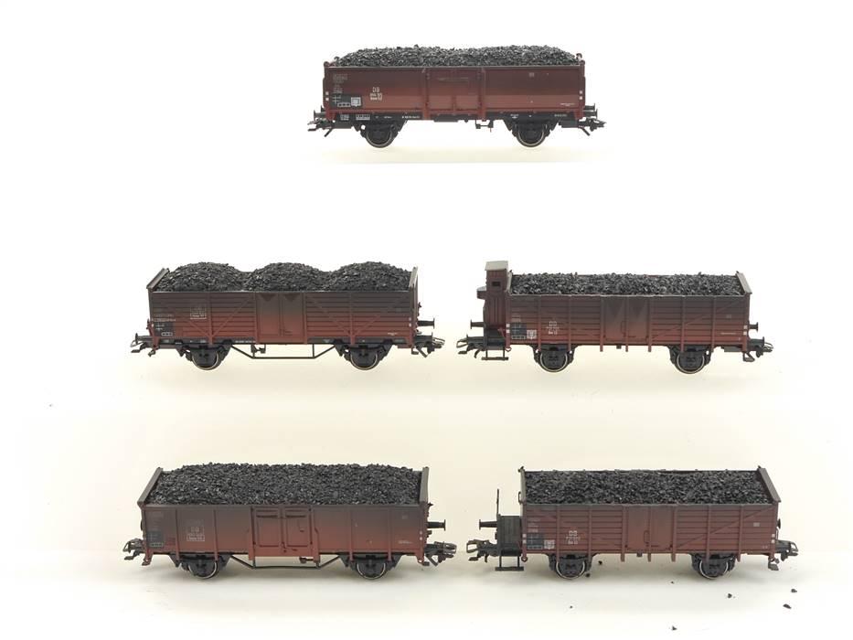 E293 Märklin H0 46034 5x Güterwagen Hochbordwagen DB mit Kohle-Ladung / NEM