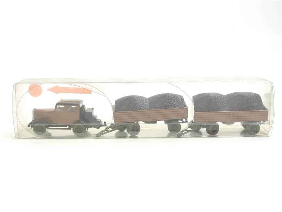 E169 Wiking H0 3500 Modellauto Hanomag ST 100 mit zwei Anhängern 1:87 *TOP*