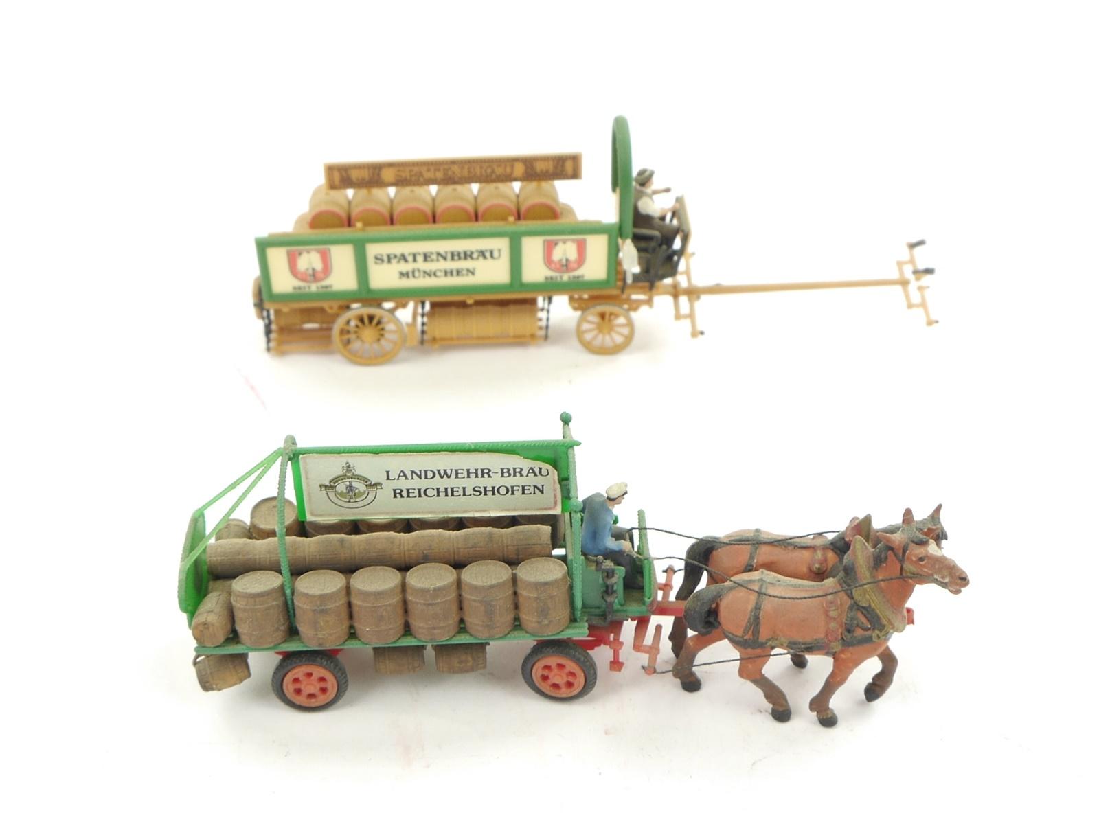 E116 Preiser H0 2x Figuren Pferdegespann Brauereiwagen Spatenbräu Reichelshofen
